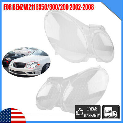 Pair Headlight Headlamp Clear Lens Cover For Benz W211 E350/300/200 2002-2008