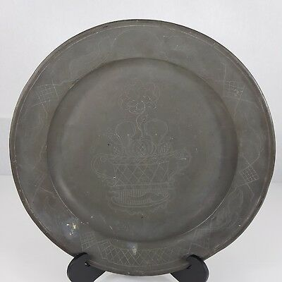 Antique Pewter Charger Plate Engraved  Pot Of Flowers Touch Marks 34.5cm C.1800