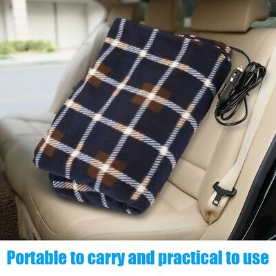 12V Car Electric Heated Heating Blanket Soft Polar Fleece Mat For Camping Travel