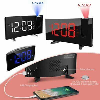 Curved LED Snooze Alarm Clock Dimmer Sleep Timer Projector FM Radio Projection