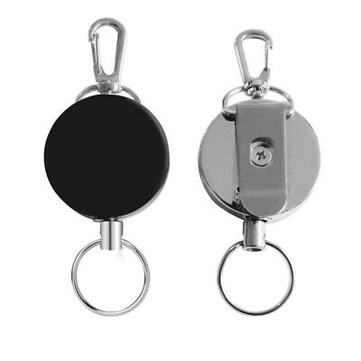 2PC Heavy Duty Metal Chain Retractable Pull Key Ring Belt Clip Card Badge Holder