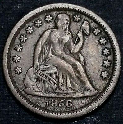 1856 10C Philadelphia Seated Liberty .900 Silver Dime Uncirculated Flashy Coin