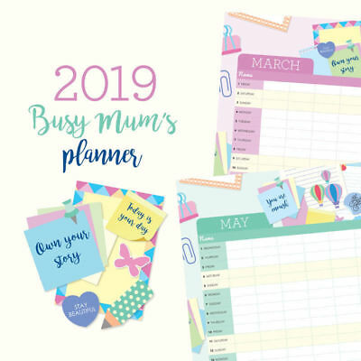 Busy Mum's Planner 2019 Wall Calendar by Paper Pocket, mum Free Post (NEW)