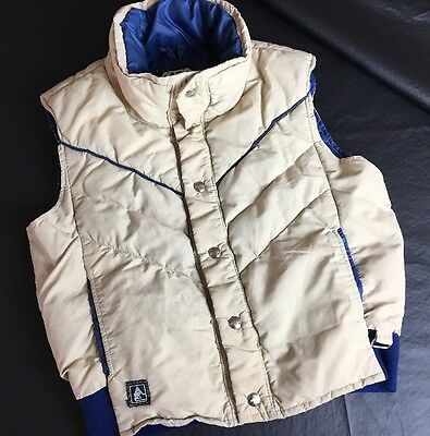 ALTRA Vintage Puffy Vest. Snap Front. Mens XS. Tan And Blue