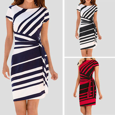 Summer Womens Slim Bodycon Business Evening Party Cocktail Midi Pencil Dress AU
