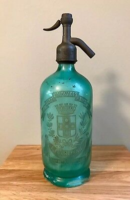 Antique Vintage French Paris Green Glass Soda Syphon