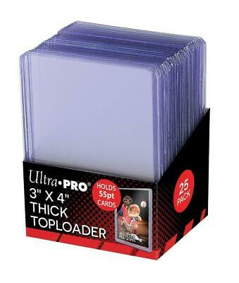25 x Ultra Pro Clear Thick 55pt TOPLOADER Rigid Card Protector TOP LOADERS 3x4