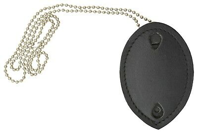 Clip-On Leather Shield Style Badge Holder Pocket Belt Clip Neck Chain Marshal