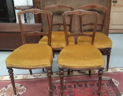 Set Four Late Victorian Stained Oak Chairs With Turned Legs Carved Rose Design