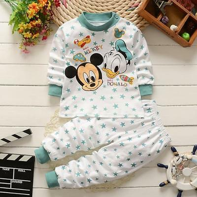 Mickey Mouse Pyjamas Newborn Baby Clothes Set Cotton Baby Boy Girl Unisex 2PC...