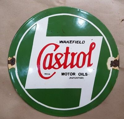 CASTROL MOTOR OIL 12 INCHES ROUND Porcelain Enamel Sign