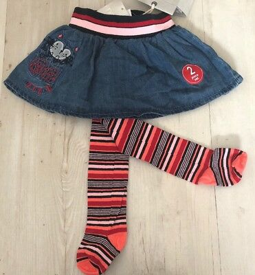 Next Baby Girl Gorgeous Embroidered Cat Skirt & Tights 3-6 🌺- BNWT