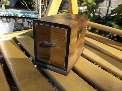 Vintage Treen Wooden 2 Deck Playing Cards Holder With Cards Craft Shabby Chic
