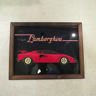 "Classic Lamborghini Glass Mirror/Sign Framed 18"" x 14"" - Excellent Cond"