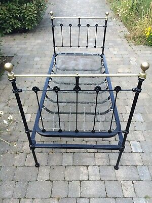 Victorian Antique Single Brass And Iron Bed Frame with Sprung Base.