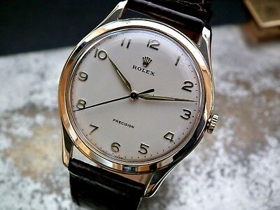 Just Beautiful 1959 9ct Gold Oversize (35mm) Rolex Precision Gents Vintage Watch