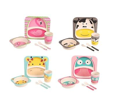 Children's 5 Piece Bamboo Dinner Set 100% Eco-Friendly Bamboo Pig Elephant Owl