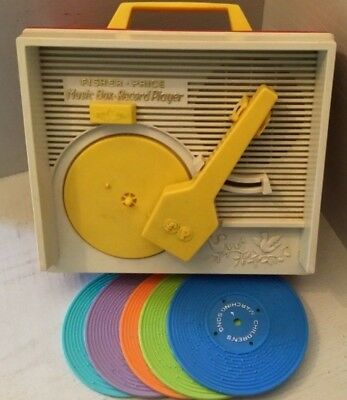 Vintage Fisher Price Record Player With 5 Records - 1971 - Works
