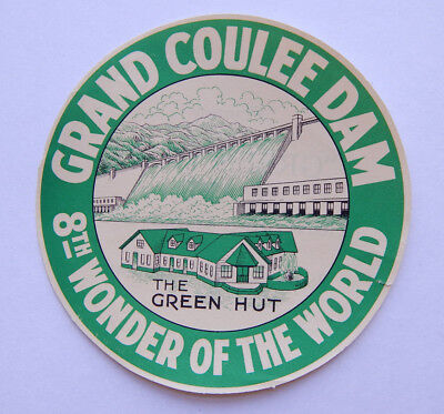 Grand Coulee Dam 8th Wonder of the World Vintage Luggage Label