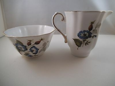 Vintage Royal Grafton Bone China England Sugar Bowl & Creamer Blue Flowers