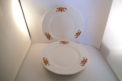 Vintage French Saxon China Sebring Set of 4 Lunch Dinner Plates Red Flowers