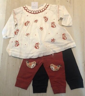 Next Baby Girl Embroidered Fox Detail Top & Legging Set x 3 🌺 6-9- BNWT