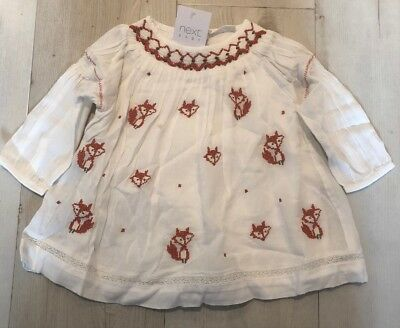 Next Baby Girl Embroidered cotton Longsleeve Fox Detail Tunic Top 🌺 0-3 BNWT