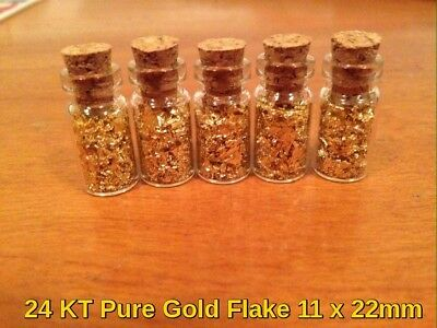 4  Pure 24KT Gold Flake Vials 11mm X 22mm Lot. Non Edible Gold Flakes