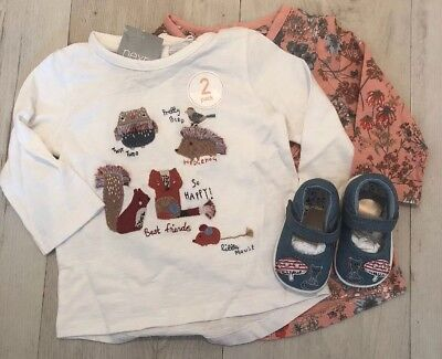 Next Baby Girl Applique & Floral Detail Top & Pram shoes 🌺 3-6 BNWT