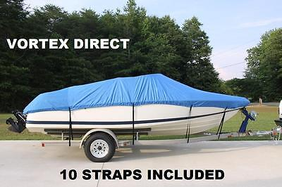 New Vortex Combo Pack Heavy Duty Blue 17 18 19' Boat Cover + Support System