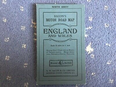 Bacons Motor Road Map England And Wales vintage retro antique