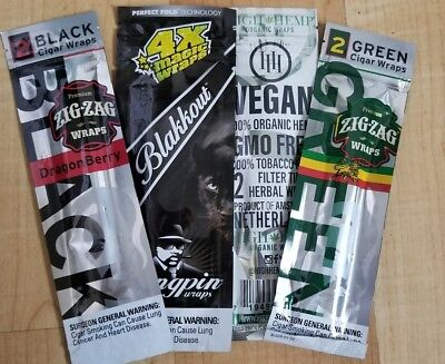 Assorted Cigar Wraps 4 Packs Double Blunt Wraps Cigar Rolling