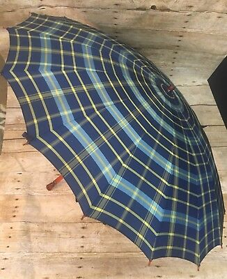 Vintage Umbrella with Lucite + Bamboo Handle Blue Yellow Plaid Parasol works!