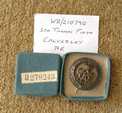 Great War Silver War Badge & Box of Issue to Wounded Soldier from Huddersfield
