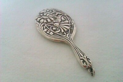 Rare & Beautifully Embossed Solid Silver Edwardian Chatelaine Mirror C & N 1903