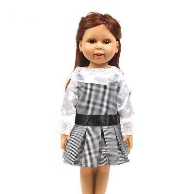 """Doll Clothes 18"""" Dress Jumper Black White Top White Fits American Girl Dolls"""