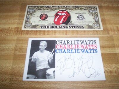 The Rolling Stones / Charlie Watts / Hand-Signed Promo Card