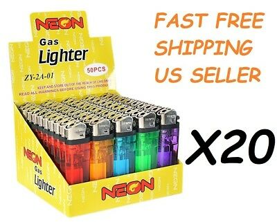 1000 Ct Full Size Disposable Cigarette Lighters Assorted Color Wholesale NEON