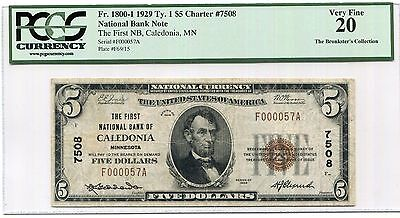 Ch. 7508 Series 1929 Type I $5 The First NB of Caledonia, MN, PCGS VF20 Scarce!!