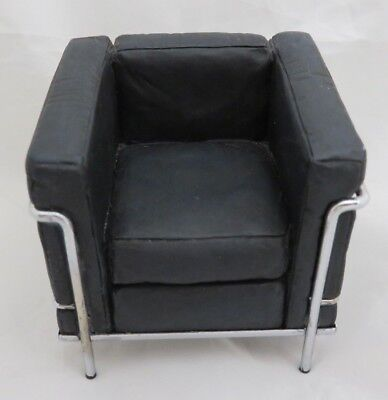 Take a Seat By Raine Chrome and Black Leather Miniature Doll House Chair