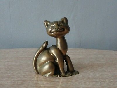 Vintage Brass Smiling Cat Poker Stand •●•● Fireside Stand