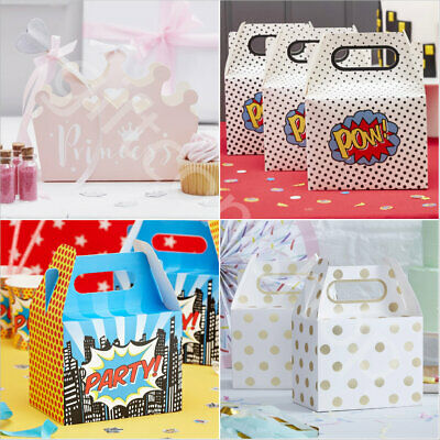 Cardboard Party Boxes Wedding Birthday Childrens Treat Favour Bags Cake Box x 5