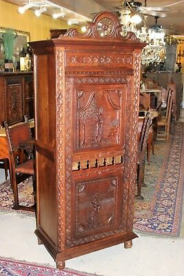 Antique French Carved Oak Brittany Tall 1 Door Cabinet / Linen Cabinet