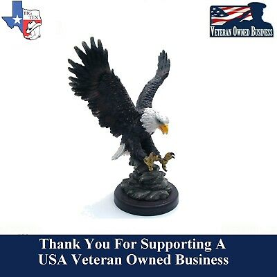 "EXCELLENT! Collectible 9"" Majestic American Bald Eagle Figurine Sculpture Resin"