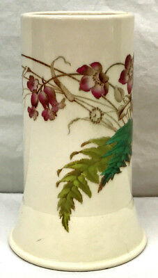1882 Victorian Antique CYLINDRICAL VASE - ENGLAND Floral Hand Painted (over Xfr)