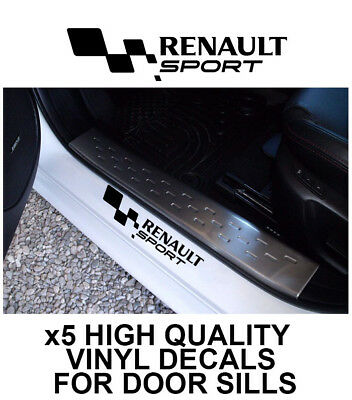 5x RENAULT SPORT FLAG LOGO CAR DOOR SILLS VINYL DECALS STICKERS ADHESIVE