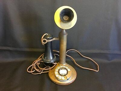 Antique American Bell Candlestick Telephone, Solid Brass