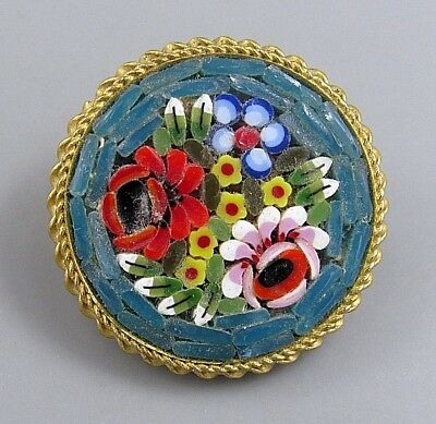 Vintage Jewelry Signed ITALY Micro Mosaic Flower BROOCH PIN Rhinestone Lot R