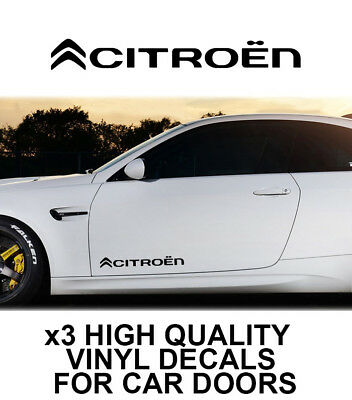 3x CITROEN LOGO CAR DOOR VINYL DECALS STICKERS ADHESIVE