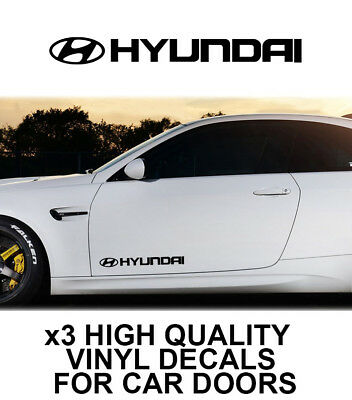 3x HYUNDAI LOGO CAR DOOR VINYL DECALS STICKERS ADHESIVE